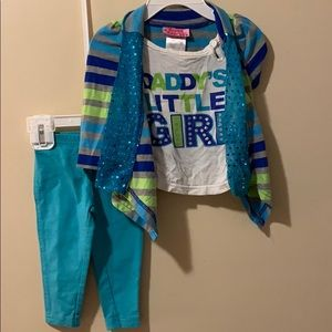 Girls 6/9 month outfit pants & top with sequins